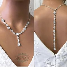 f08b6e20f Bridal Jewelry Set, Bridesmaid Jewelry Set, Leaf Flower Crystal Statement  Backdrop Necklace Set,
