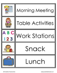$1.50  The schedule card set includes 39 visual schedule cards for Pre-K, Kdg, and 1st grade.  It also includes specials - PE, music, computer, art etc.  ...