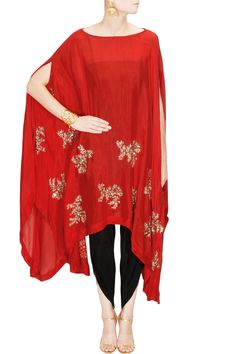 Red motifs cape with dhoti pants available only at Pernia's Pop Up Shop.