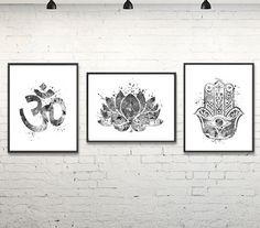 BUY 2 Get 1 FREE - Yoga Watercolor Print, Yoga Studio, Lotus, Hamsa, Om Symbol, Meditation Art, Spiritual Art, Wall Art, Black & White by gingerkidsart on Etsy https://www.etsy.com/listing/246383322/buy-2-get-1-free-yoga-watercolor-print