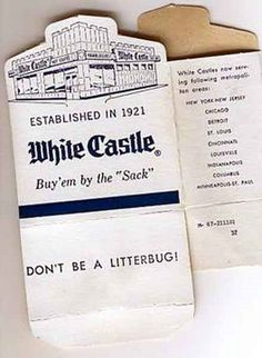 WHITE CASTLE HAMBURGER BOX - 1960s  WHITE CASTLE- before we had mcdonalds, burger king, wendys or any other- there was WHITE CASTLE- These are the boxes I remember!