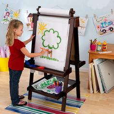 Kidkraft Deluxe Wooden Art Easel For Kids W - Paper, Whiteboard & Shelf
