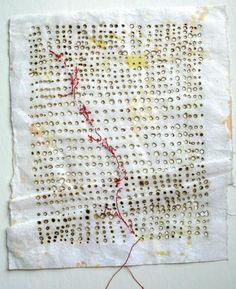 Decoding by Ula Einstein fire, thread, ink, rice paper  ©Ula Einstein