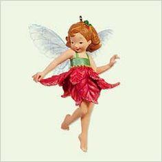 Poinsettia Fairy from Hallmark Fairy Messengers Ornament Series (#1 - 2005)