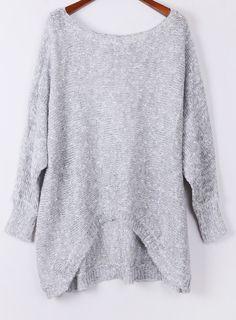Grey Long Sleeve Asymmetric Hem Loose Sweater