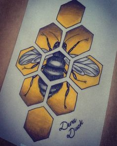 Grey bee in yellow honeycomb mozaic tattoo design