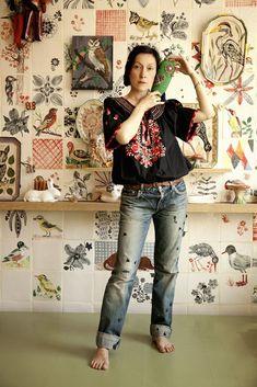 I like Nathalie Lété's art and personal style~Image © Delphine Chanet… Portrait, Delphine, Arte Popular, Textiles, Home Studio, Art Studios, Artist At Work, Illustration, Pattern Design