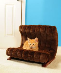 Features: -Pet bed. -Chocolate glaze legs. -Hand made out of strong wood frame. -Upholstered with faux fur fabric. -For pets up to 15 lbs. Cat Size: -Medium (10 - 15 Lbs). Product Type: -Furnit
