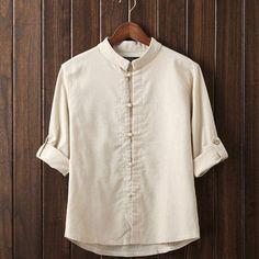 Men Linen Shirts Long Sleeve, Chinese Style Mandarin Collar. Traditional Kung Fu Casual Shirt