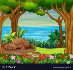 Beautiful forest scene with river and trees vector image on VectorStock Kids Background, Flower Background Wallpaper, Cartoon Background, Landscape Background, Flower Backgrounds, Vector Background, Background Designs, Art Drawings For Kids, Amazing Drawings