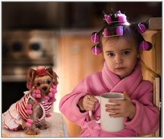 Girl & dog in pink curlers - just too funny ! Pretty sure I have a picture of me in those same damn curlers.
