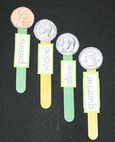 Coin Popsicle Stick Puppets Great idea for coin identification. Classroom Freebies, Math Classroom, Kindergarten Math, Classroom Ideas, Future Classroom, Teaching Money, Teaching Math, Teaching Ideas, Teaching Skills