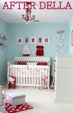 Super cute! Red and Blue in a little girl's room.  I probably never would have thought of that color combo for a girl, but it is adorable.  Especially with Hello Kitty :)