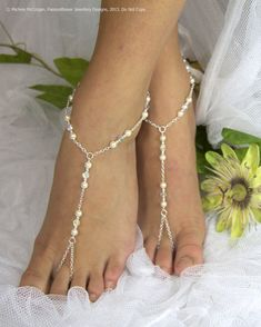 Beaded barefoot sandles, feet jewlery, pearl barefoot sandals, beach wedding anklet, bridal beach sandal, beach bride. GEORGIA Cream on Etsy, $31.28