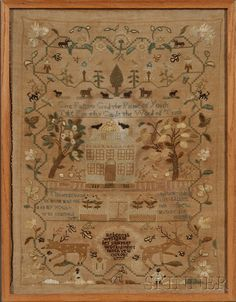 Nothing makes me happier right this second than seeing those two drunk-looking deer at the bottom of the sampler.  I am crazy about samplers when the elements look like they've been designed and executed entirely by their young stitchers.
