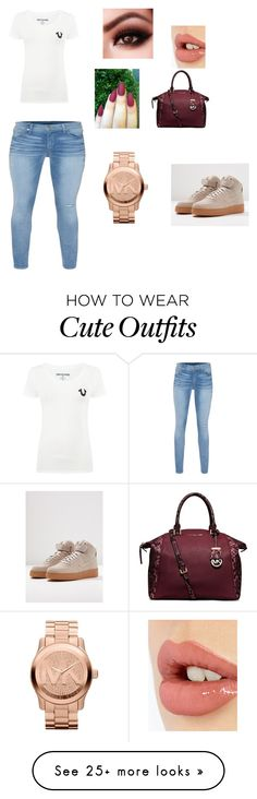 """""""cute basic outfit."""" by leara29 on Polyvore featuring MICHAEL Michael Kors, True Religion, Charlotte Tilbury, Michael Kors and NIKE"""