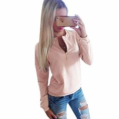 Winson Lady WinterFall Hoodies Long Sleeves Zip tops Round Collar blouse Loose shirtsPinkMedium >>> See this great product.Note:It is affiliate link to Amazon.