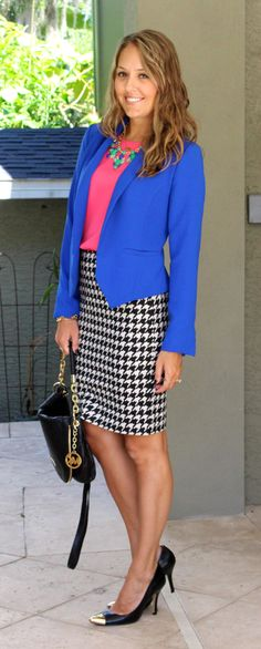 Cobalt blazer, pink top, houndstooth skirt
