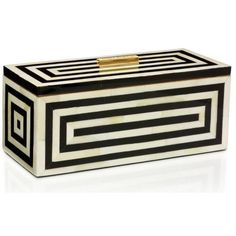 Tory Burch art deco box. | Home & Design | Pinterest ❤ liked on Polyvore featuring home, home decor, art deco home decor and tory burch
