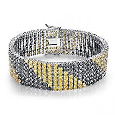 LeoBon New Wedding Party Bracelets for Women Black Spinel Citrine 18K White Gold Plated Bracelet Femme * Continue to the product at the image link.