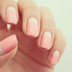 Pink manicure with white straight half moon/nail bed. #easynailart #pinknails #whitenails
