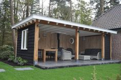 another shed turned outdoor seating would an angled roofline against back look cool? prob only if everyone did it? Backyard Pavilion, Casa Patio, Backyard Patio Designs, Pergola Patio, Backyard Landscaping, Outdoor Rooms, Outdoor Living, Outdoor Decor, Outdoor Seating