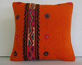 """16""""orange pillow cover orange decorative throw pillow kilim pillow cover accent cushion turkish sham embroidered floor pillow outdoor pillow"""