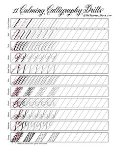 Hand lettering practice exercises Vinyl fabric Text began in an effort to help make Penmanship Practice, Hand Lettering Practice, Hand Lettering Alphabet, Calligraphy Practice, How To Write Calligraphy, Alphabet Art, Calligraphy Worksheet, Calligraphy Tutorial, Copperplate Calligraphy