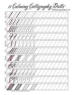 Hand lettering practice exercises Vinyl fabric Text began in an effort to help make Penmanship Practice, Hand Lettering Practice, Calligraphy Practice, How To Write Calligraphy, Calligraphy Worksheet, Calligraphy Tutorial, Copperplate Calligraphy, Lettering Tutorial, Islamic Calligraphy