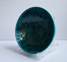 Turquoise Design Hand Made Ceramic Bowl Home by ChezGalip on Etsy