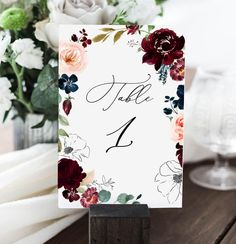 """Table Numbers, Wedding Table Cards, Table Number, Burgundy table number, template 4x6"""", Editable Table Numbers, Table Card Template G98L"""