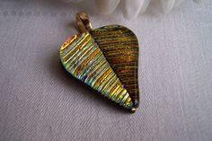 Dichroic glass leaf pendant