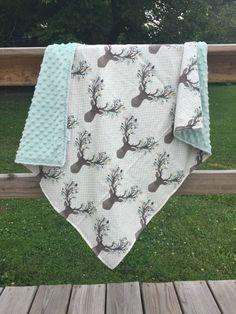 Minky Baby Blanket Deer Antlers Woodland Theme Deer by WatchMyDive