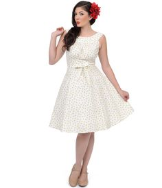 White Cherries Jubilee 1950s Style Amanda Swing Dress