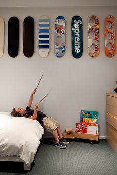 kids room decorated with skateboards