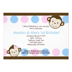 Mod Monkey Twins Pink/Blue 5x7 Birthday Invitation