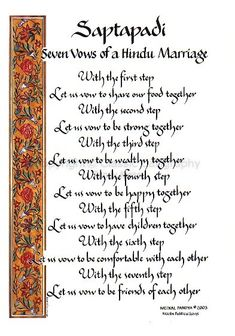 Marriage Wedding Vows | Image of calligraphy P11-70 Saptapdi: Seven Vows of a Hindu Marriage