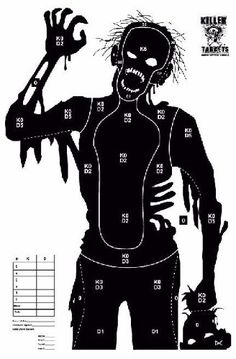 Full sized, firing range standard Zombie Shooting Targets that give you something different to shoot at on the range, airsoft field, paintball field, and archery. These targets are uniquely designed by us, and have scoring grids on each targets which indicate a Kill vs. Disable score. Each target is 23 by 35 inches in dimension, printed on white 60 pound weight stock paper.