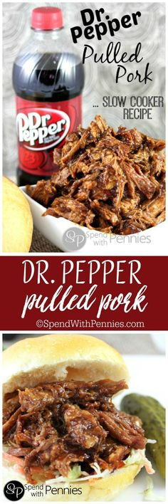 Dr. Pepper Pulled Pork! This is one of our absolute favorite slow cooker recipes!! This works with root beer too!!
