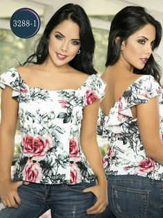 Blusa Moda Colombiana Thaxx - Ref. 119 Blanco Blusa Moda Colombiana Thaxx - Ref. Floral Fashion, Fashion Art, Womens Fashion, Blouse Styles, Blouse Designs, Sewing Blouses, Summer Looks, Casual Wear, Glamour