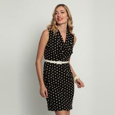 """Kinsey Dress Coco Dot, by Eva Franco, now featured on Fab. Cowl neck straight skirt dress 97% Nylon, 3% Cotton. Note that Low Hip is located 8"""" down from natural waist. Made in USA."""