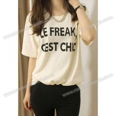 Wholesale Letter Print Scoop Neck Casual Style Short Sleeves Cotton Blend T-Shirt For Women (WHITE,ONE SIZE), Women's T-shirts - Rosewholesale.com