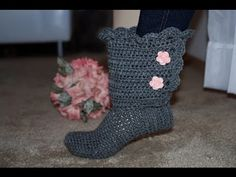 How To Crochet Glama's Fancy Bootie Slippers - YouTube