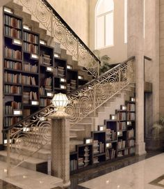I love everything about this - the railing, the books, the colors...everything.