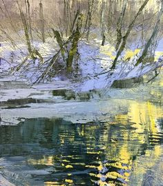 Lynn Boggess' newest fine art selection of original tactile realism are on display at Principle Gallery in Alexandria V. Watercolor Trees, Watercolor Landscape, Abstract Landscape, Painting Snow, Winter Painting, Seascape Paintings, Landscape Paintings, Virginia Occidental, Contemporary Landscape