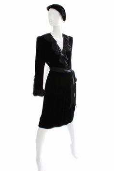 7917a74af99 Yves Saint Laurent YSL Black Silk Velvet Cocktail Dress with Ruffles 70s Sz  38 #YvesSaintLaurent