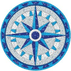 Entrancing Drop in Pool Mosaics with Compass Mosaic Designs on Medallion Tile Patterns from Pool Tiles, Pool Decks, Pool Coping Mosaic Tile Designs, Mosaic Patterns, Mosaic Tiles, Mosaic Crafts, Mosaic Projects, Blue Mosaic, Mosaic Glass, Stained Glass, Swimming Pool Mosaics