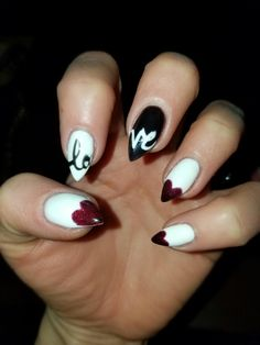 Stilleto Almond Valentines day Nails heart love
