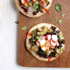 The radish relish gives a hit of bright crunch to the tostada; sour cream adds a cool, creamy finish.