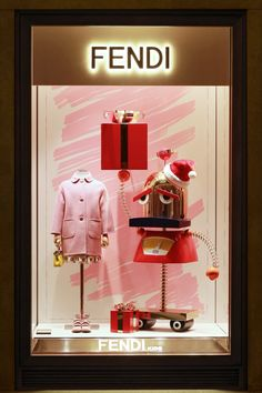 """FENDI, Rome, Italy, """"A pop of color and fun takes over the windows at Palazzo Fendi in Rome with the festive prints of the Fendi Kids Fall/Winter collection"""", pinned by Ton van der Veer"""